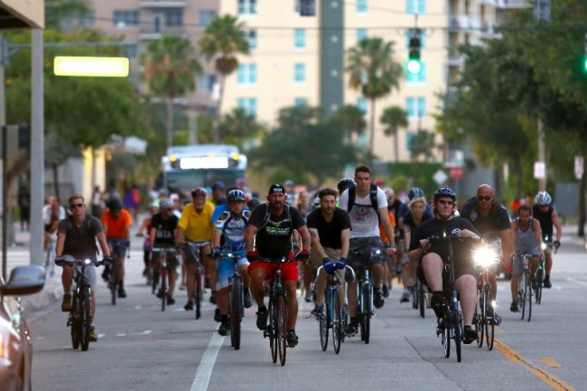 fl-clo-ride-of-silenceCyclists take to the road in Fort Lauderdale in a silent procession to honor fellow cyclists who have been killed or injured while riding on public roadways during the Ride of Silence on May 21, 2014. Although cyclists have a legal