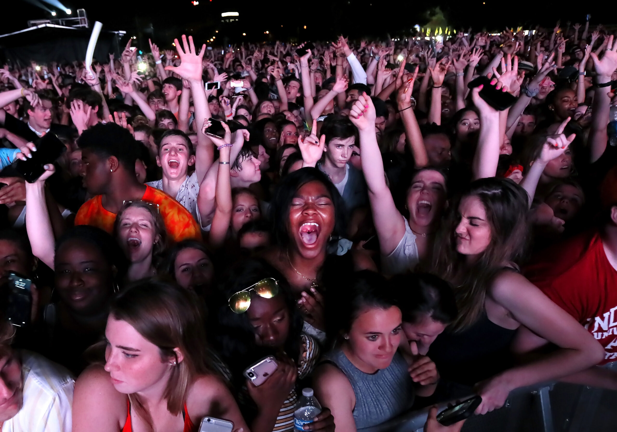 Fans cheer on Lil Dicky during the Beale Street Music Festival on Friday Night.
